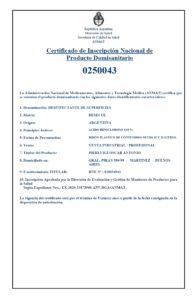 ANMAT Certificado uso profesional