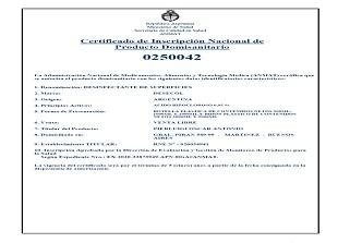 ANMAT Certificado uso domestico