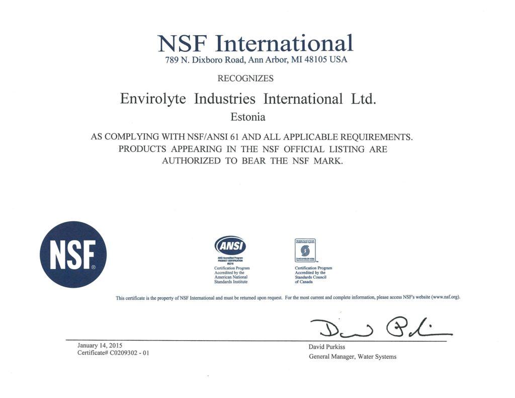 Envirolyte Aprobación NSF